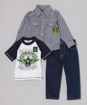 Blue Gingham Button-Up Set - Infant, Toddler & Boys