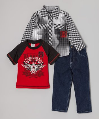 Black Gingham Button-Up Set - Infant, Toddler & Boys