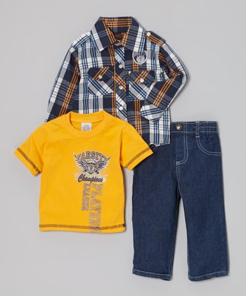 White Plaid Button-Up Set - Infant & Boys