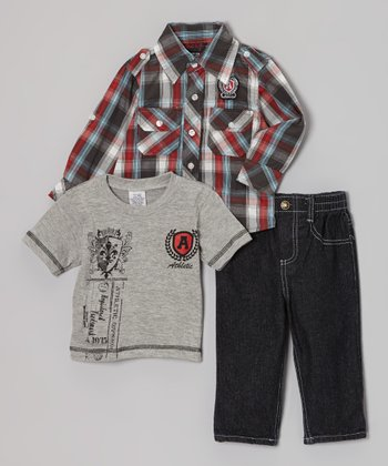 Red & Blue Plaid Button-Up Set - Infant