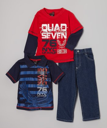 Blue & Red Stripe Polo Set - Infant & Toddler