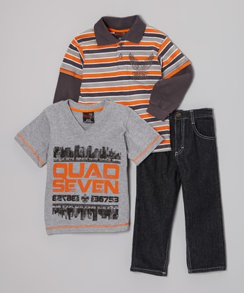 Orange & Gray Stripe Layered Polo Set - Infant & Toddler
