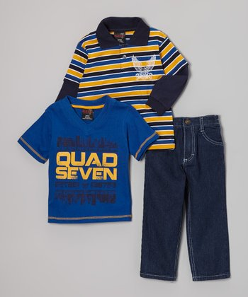 Navy & Yellow Stripe Layered Polo Set - Infant & Toddler