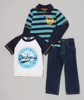 Navy & Teal 'The Legend' Layered Polo Set - Infant & Toddler