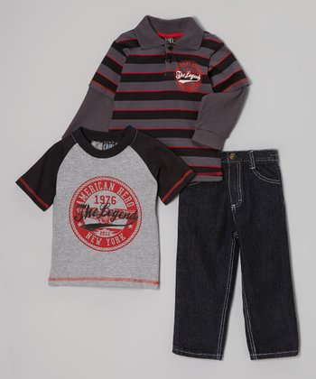 Red & Gray 'The Legend' Layered Polo Set - Infant & Toddler