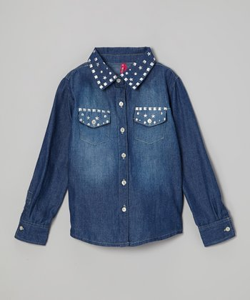 Medium Wash Stud Button-Up - Girls