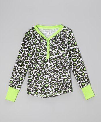 Loud Lime Leopard Henley - Toddler