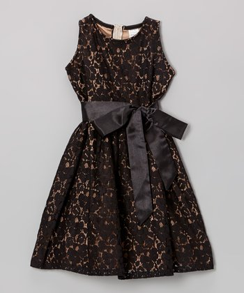 Black & Tan Lace Dress - Toddler & Girls