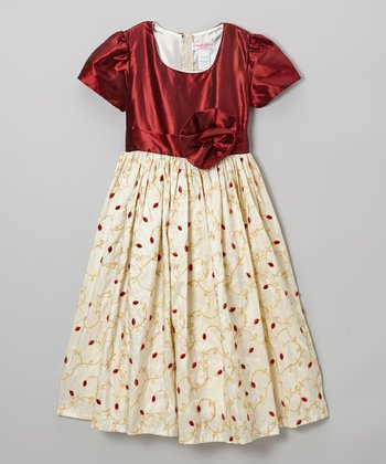 Wine & Cream Flower Dress - Toddler & Girls