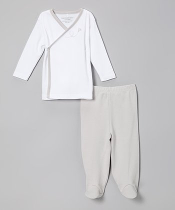 White & Gray Bee Organic Wrap Top & Footie Pants - Infant
