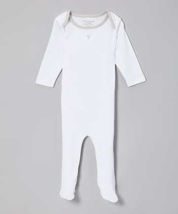 White & Gray Bee Organic Footie - Infant