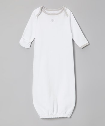 White & Gray Bee Organic Gown - Infant
