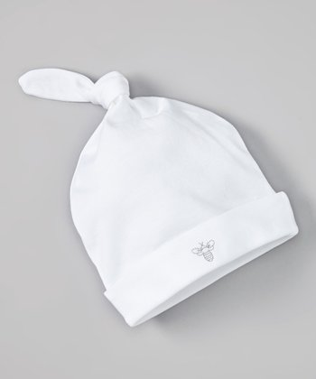 White & Gray Bee Organic Single-Knot Beanie