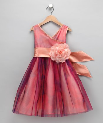Chic Baby Peach Rose Surplice Dress - Girls