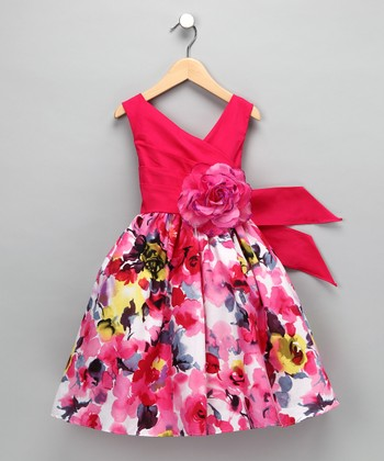 Fuchsia Floral Rose Dress - Girls