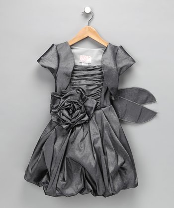 Gray Pleated Bubble Dress & Shrug - Toddler & Girls