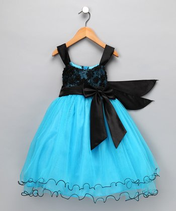 Black & Turquoise Sequin Tulle Dress - Toddler & Girls