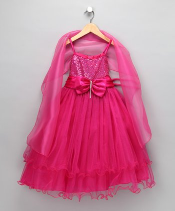 Fuchsia Bow Dress & Shawl - Toddler & Girls