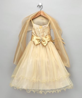 Gold Bow Dress & Shawl - Toddler & Girls