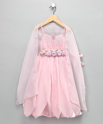 Chic Baby Rose Fairy Princess Dress & Shawl - Toddler & Girls