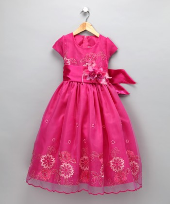 Chic Baby Fuchsia Floral Embroidered Chiffon Dress - Girls