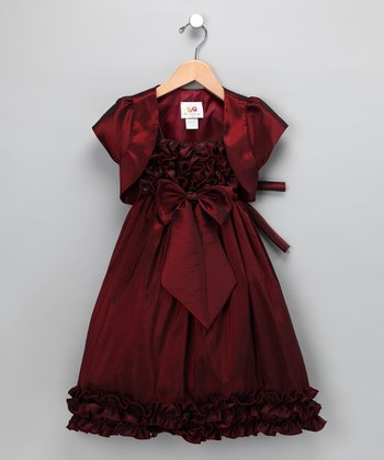 Chic Baby Burgundy Bow Ruffle Dress & Shrug - Toddler
