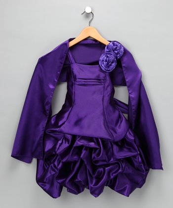 Purple Rosette Satin Pickup Dress & Shawl - Toddler & Girls