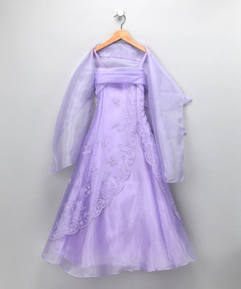 Lilac Floral Chiffon Dress & Shawl - Girls