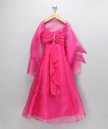 Chic Baby Fuchsia Rhinestone Chiffon Dress & Shawl - Toddler & Girls