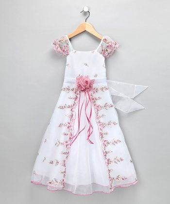 Ivory & Pink Floral Angel-Sleeve Dress - Toddler & Girls