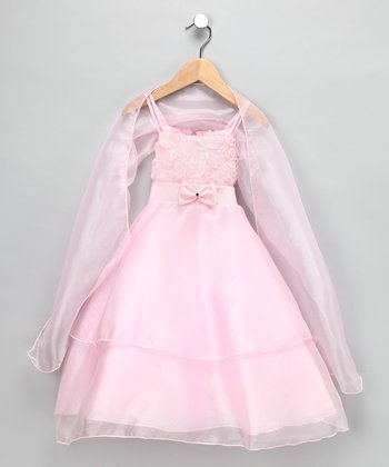Chic Baby Pink Rhinestone Bow Chiffon Dress & Shawl - Toddler & Girls
