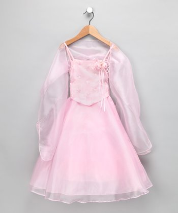 Chic Baby Pink Floral Princess Dress & Shawl - Toddler & Girls
