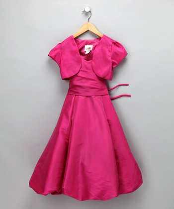 Chic Baby Fuchsia Bubble Dress & Shrug - Girls