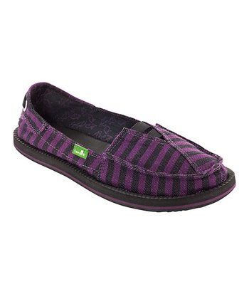 Purple & Black Stripe Castaway Slip-On Shoe - Women