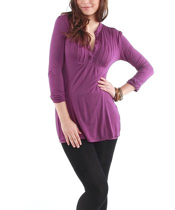 Plum Pleated Maternity & Nursing Tunic - Women