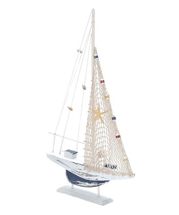 White & Navy Sailboat Figurine