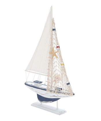 White Net Sailboat Figurine