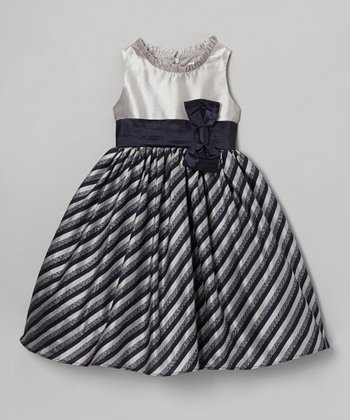 Navy & Gray Clara Dress - Toddler & Girls