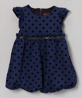 Navy Polka Dot Pixie Bubble Dress - Toddler