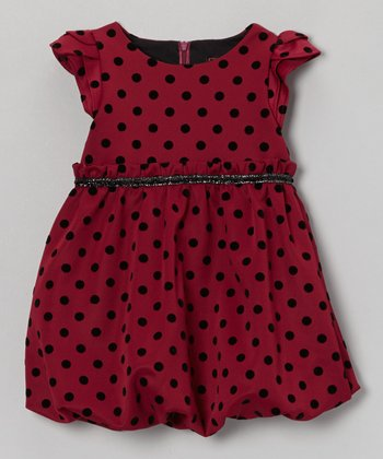 Berry Polka Dot Pixie Bubble Dress - Toddler & Girls