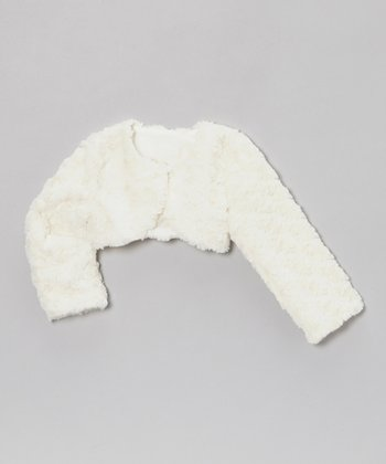 Ivory Faux Fur Bolero - Toddler & Girls