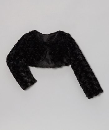 Black Faux Fur Bolero - Toddler