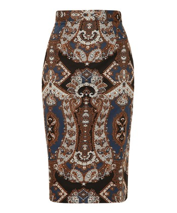 Blue & Brown Paisley Brandy Pencil Skirt