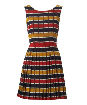 Red & Navy Brogan Dress