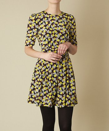 Yellow & Black Acorn Carly Dress