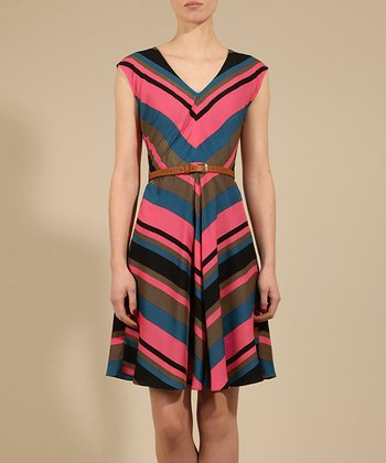 Pink & Blue Chevron Duchess Dress