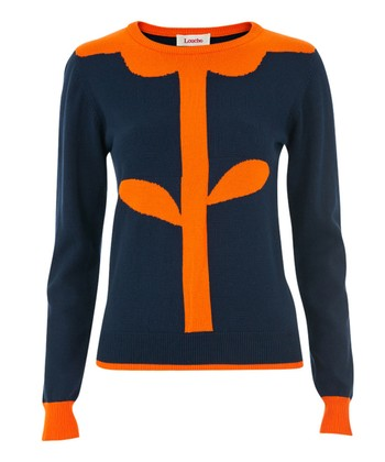 Navy & Orange Flower Intarsia Sweater