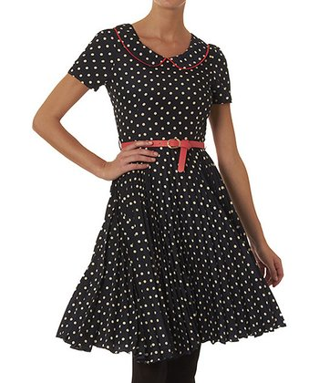 Navy Polka Dot Leanna Dress