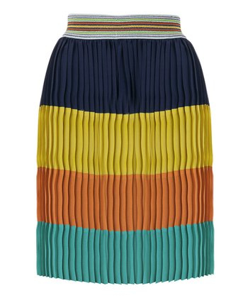 Navy & Yellow Color Block Lejoi Skirt