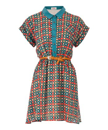 Blue & Pink Checkerboard Leroy Dress